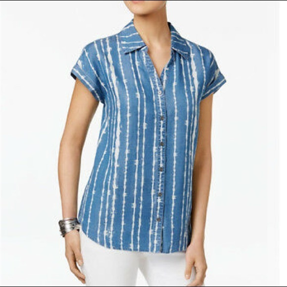 Style & Co Tops - Style CO large Top Blue Ivory Stripe Button Down